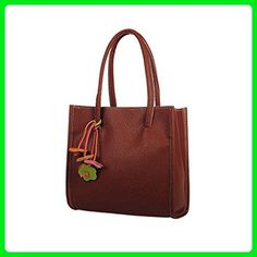 Leegoal(TM) Large Capacity Candy Color PU Leather Ladies Handbag Tote Bag (Brown) - Shoulder bags (*Amazon Partner-Link)
