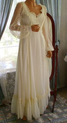 Vintage Prairie Edwardian Style Gunne Sax Dress Ecru in Color