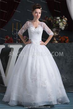 Ball Gown V-Neck Floor-Length Satin Wedding Dress WD010700