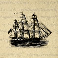 Printable Image Antique Ship Graphic Ocean Sea Digital Boat Download Vintage Clip Art. Printable high quality digital image graphic for printing, fabric transfers, tote bags, and many other uses. Real antique artwork. Great for etsy products. This image is high quality and high resolution at size 8½ x 11 inches. Transparent background version included with all images.