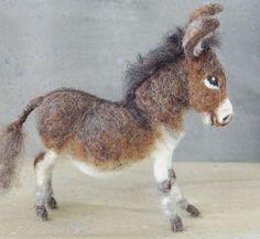 needle felted donkey by Sara Renzuli