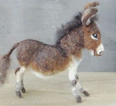 needle felted donkey by Sara Renzuli