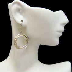 925 Sterling Silver Beaded Circle Dangle Vintage Earrings Very Unique Pierced #MyClassicJewelry