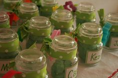Party Favors for little ones - homemade playdough in jam jars with plastic cookie cutters!