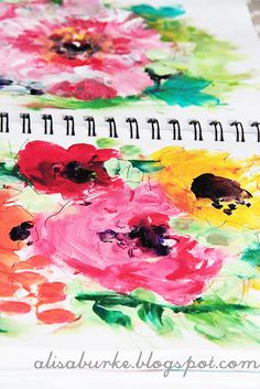 A colorful fingerpainted sketchbook page from Alisa Burke.