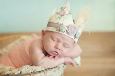 Baby Girl Shabby Chic Fabric Crown  Vintage by HarperJosBoutique, $24.95