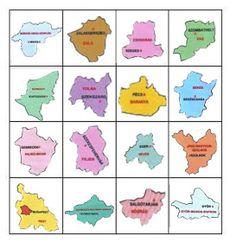 Játékos tanulás és kreativitás: Magyarország megyéi - játékok Kindergarten, Homeschool, Teaching, Education, Maps, Geography, School, Projects, Blue Prints