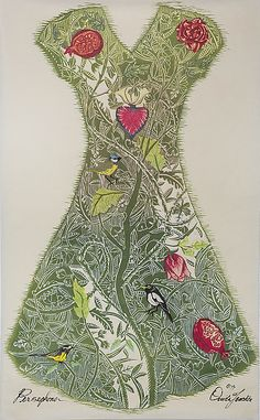 Persephone by Ouida Touchon: Woodcut Print available at www.artfulhome.com