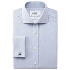 Blue rich twill stripe non-iron spread slim fit shirt