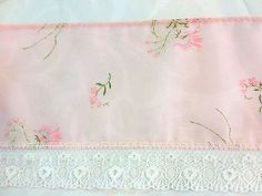 Pink Floral Sheer Trim with White Lace      4 inches wide      2 yards