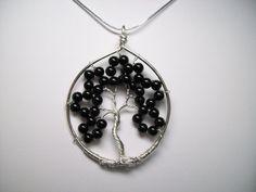 Genuine Black Onyx and Sterling Silver Tree of by gandltreasures