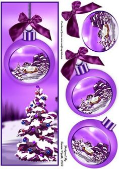 A pretty lavender shades Christmas bauble scene DL card with additional bauble layers. xk