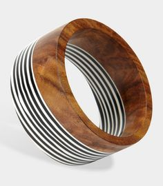 Wood & Striped Resin Bangle