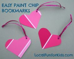Cute hearts from @localfunforkids for our 2 Supply Tuesday! Valentine Paint Chip Bookmarks. Easy Valentine Crafts, Little Valentine, Easy Crafts For Kids, Valentine Day Love, Art For Kids, Kids Fun, Paint Sample Cards, Paint Samples, Paint Chip Art