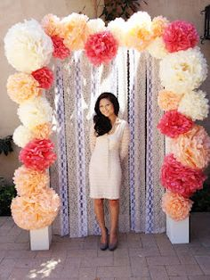 Pom Pom backdrop in all diff color purple with maybe a silver background :) perfect DIY photo booth