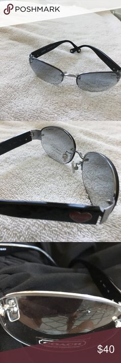 coach black sunglasses coach sunglasses silver hinge,hearts on side frames new ,never worn Coach Accessories Sunglasses