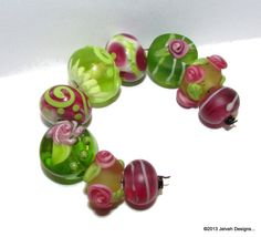 Handmade Lampwork Glass Beads SRA Jelveh Designs by jelvehdesigns, $35.00 - Another Pink & Lime/Green Set ...yummy! <3<3<3ing them! @