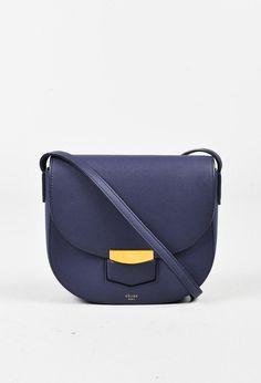 2491c43ed4b Celine Indigo Blue Grained Leather Small