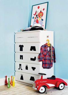 Lær-selv-at-rydde-op kommode til børneværelset