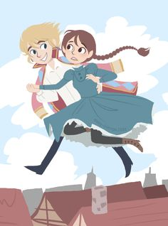 Stroll through the sky by ~B1nd1  Howl and Sophie from Howl's Moving Castle! LOVE IT (This artist by the bye is AMAZING, go check out her work on DA)