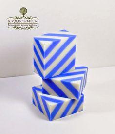 blue & white stripes - geometric soap