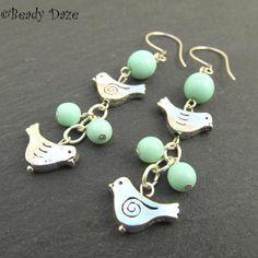Tweetie Daze silver bird and Czech bead earrings by beady daze