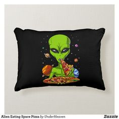Shop Alien Eating Space Pizza Throw Pillow created by UnderHeaven. Hipster Bedroom Decor, Grunge Bedroom, Indie Room Decor, Aesthetic Room Decor, Decor Room, Stoner Bedroom, Hippy Room, Chill Room, Hogwarts