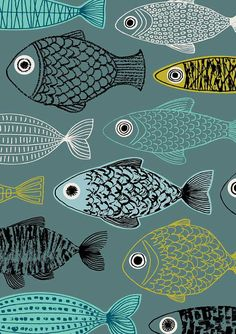 Blue Fish, limited edition giclee print by Eloise Renouf