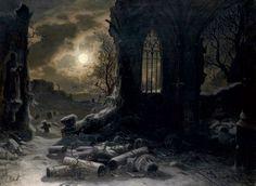 Felix Kreutzer (1835-1876) - Ruins of a Gothic chapel at full moon night.