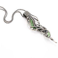 Fine Silver Freeform Pendant Tsavorite Necklace Cascade