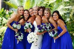 Like the idea of these bouquets--bride just white, maids with colour #wedding #flowers #bridesmaid