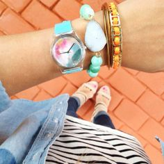 | loving my new summer watch from @MAY28TH - I designed it myself!! you can design your own watch too - how fun is that?! | #carriebradshawlied #whatiwore #M28summer via @kathleen_cbl