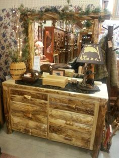 Rustic Hickory 6 Drawer Dresser With Mirror At Bears In The Woods Amish  Furniture Store In