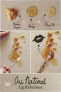 #natural #organic :) VB Au Naturel Lip Exfoliator and other DIY makeup ideas DIY Makeup.