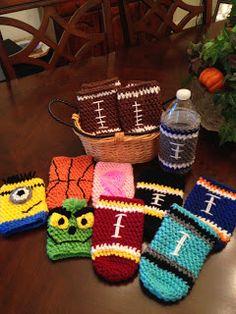 Crochet Bottle Cozies....bottle wraps, sports-themed, football cozies, breast cancer awareness, minion, Grinch...  --  The Perfect Stitch...: Crochet Bottle Cozies....bottle wraps, sports-them...