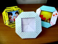 Paper was used as part of art and craft supplies for a very long moment. Box Origami, Origami Cards, Kids Origami, Origami Folding, Origami Easy, Oragami, Paper Photo Frame Diy, Paper Picture Frames, Photo Frame Crafts
