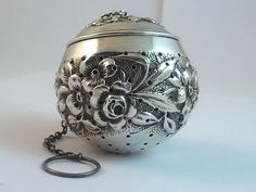 Antique MAUSER  Mfg. Co. Repousse STERLING Silver TEA Ball Infuser Large version