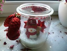 Weihnachtsdeko - Schneemann im Glas - ein Designerstück von Rosettas-Laden bei DaWanda