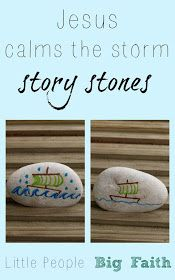 flip on each for each story that week?Little People Big Faith: Jesus calms the storm story stones Bible Crafts For Kids, Preschool Bible, Bible Study For Kids, Bible Lessons For Kids, Bible Activities, Kids Bible, Vbs Crafts, Preschool Crafts, Children's Bible
