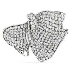 This marvelous brooch features round-cut white diamonds set in 18-karat white gold. This beautiful brooch secures with a pin back and shines with a highly polished finish.