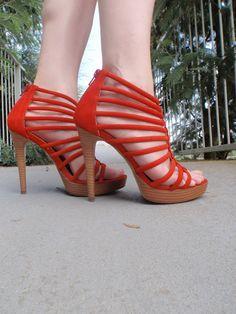 Striped Red Sandals
