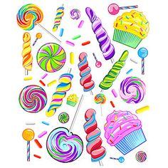 This Sweet Candy Wall Decals will transform your party. Each Candy Wall Decal Sheet measures 44 inches x 54 inches.