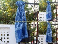 5 pcs Wholesale Lot Indigo Dabu Hand Block Print Women Wear Scarf Sarong Stole