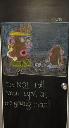 Mrs. Potato head. Chalk board art 7-16-13