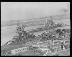 USS New Mexico (BB-40) and USS North Carolina (BB-55) Boston Navy Yard 17 October 1945.[2250x1787]