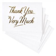 These simple and elegant thank you cards feature the phrase 'Thank You Very Much' in gold lettering which is pressed into the textured white card for a letterpress effect. Each card is left blank inside for your own personal message and 10 matching white Wedding Order, Diy Wedding, You Better Work, Paperchase, Gold Letters, Paper Texture, As You Like, White Envelopes, Letterpress