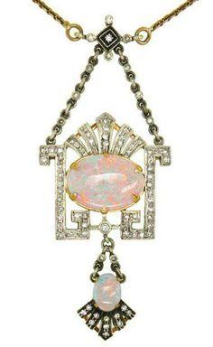 Art Déco - Pendant Opale et Diamants - Fabergé