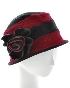 British Angora Fedora Hat Black Red Tan