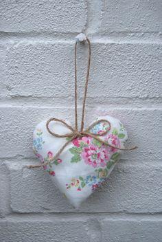 Cath Kidston Spray Flowers White Fabric Heart Hanger.  Fabric, textiles, chintz, shabby chic