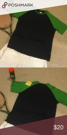 Fila Two-toned Tennis Shirt Play hard and look great  in this blue and green Perfoma Dri wicking shirt by Fila.  Size reflects XXL but I think XL will fit as well. Fila Shirts Tees - Long Sleeve